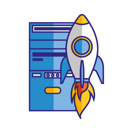 CPU tower rocket startup isolated image vector illustration