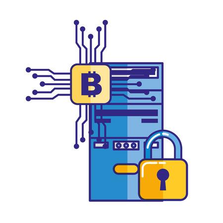 cpu tower security bitcoin trade vector illustration