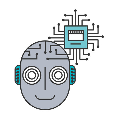 Head of robot humanoid with microchip isolated icon vector illustration design