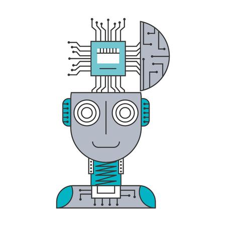 Robot humanoid with microchip isolated icon vector illustration design Ilustração