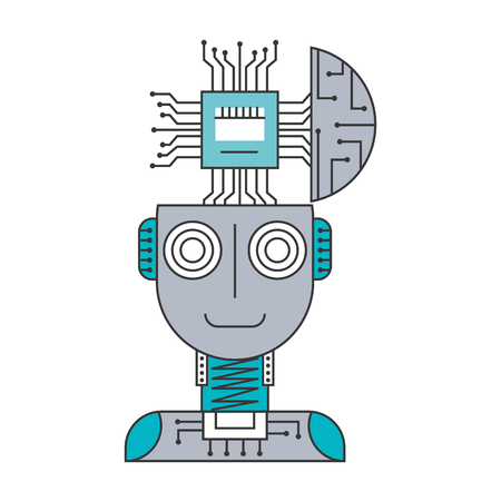 Robot humanoid with microchip isolated icon vector illustration design Illustration