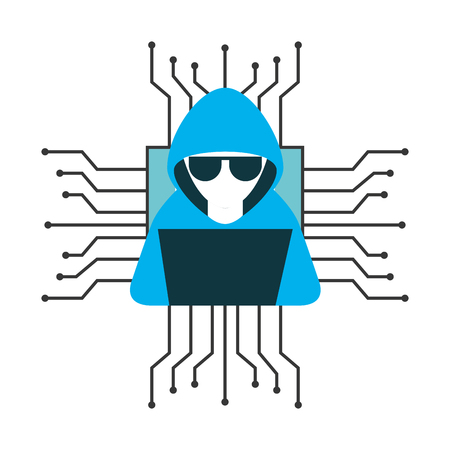 Hacker with laptop computer isolated icon vector illustration design