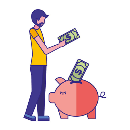 Man pushing banknotes in piggy bank vector illustration 스톡 콘텐츠