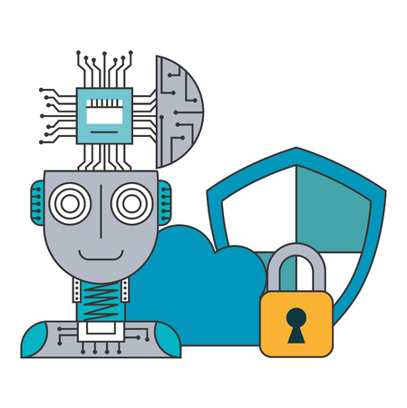 Robot humanoid with microchip and set icons vector illustration design
