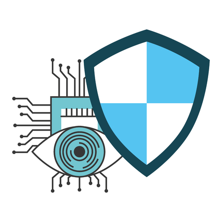Cyber security eye with shield isolated icon vector illustration design