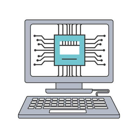 Desktop computer with microchip isolated icon vector illustration design