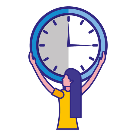Woman holding big clock time business vector illustration