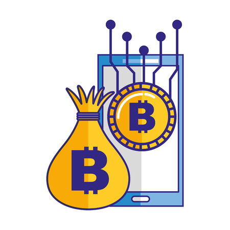 Smartphone money bag bitcoin cryptocurrency vector illustration