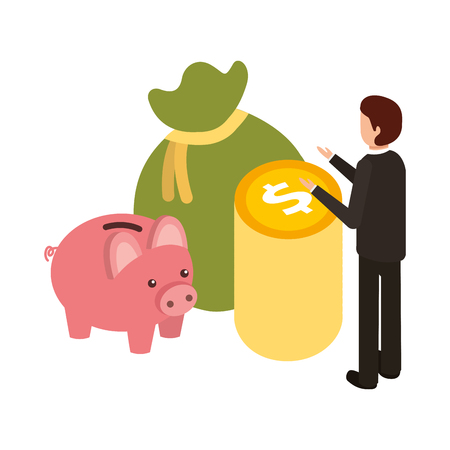 Businessman with bag money and piggy saving vector illustration design