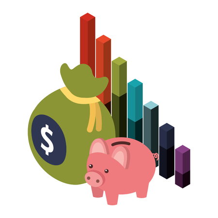 bag money with saving piggy and statistic graphic vector illustration design 일러스트