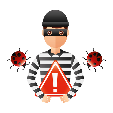 thief man with warning signage avatar character vector illustration design
