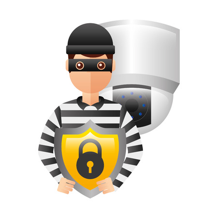 thief man with shield and video camera vector illustration design Illustration