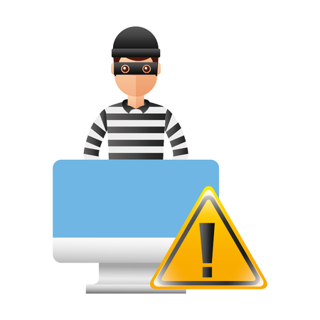 thief man with monitor and warning signage vector illustration design Illustration