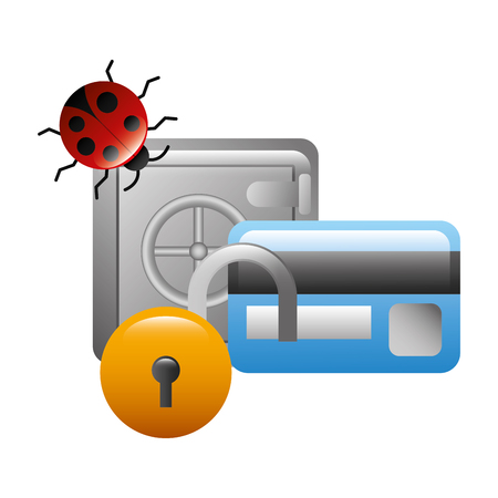 safe heavy box with set icons vector illustration design