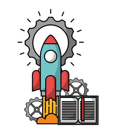 startup rocket with pinions and book vector illustration design