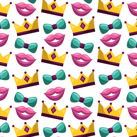 carnival festival crown bowtie mouth pattern vector illustration