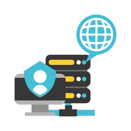 computer database center world big data security vector illustration 일러스트