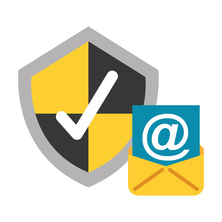email shield protection check mark data security vector illustration Illustration