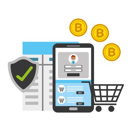 Smartphone shopping en ligne illustration vectorielle de sécurité bitcoin fintech