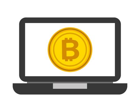 laptop computer bitcoin cryptocurrancy business fintech vector illustration