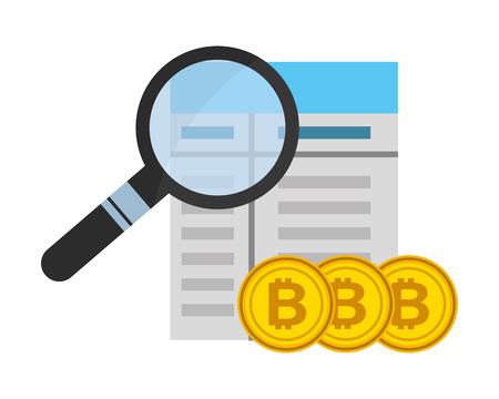 contract magnifying glass bitcoin fintech vector illustration