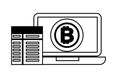 laptop computer bitcoin contract fintech vector illustration Stock Illustratie