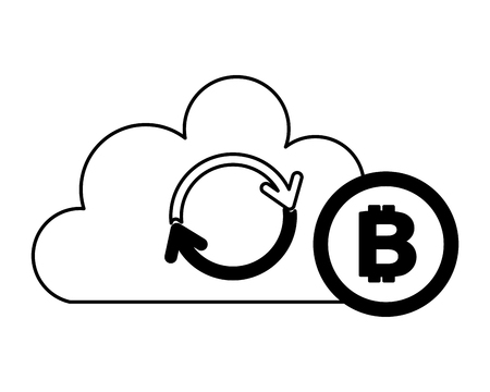 cloud computing reload bitcoin fintech vector illustration 向量圖像