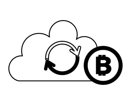 cloud computing reload bitcoin fintech vector illustration Illustration