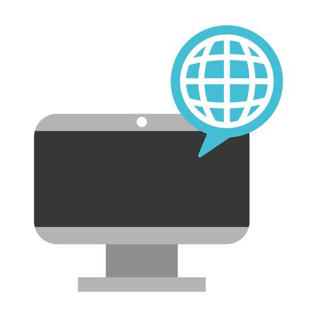 computer technology world connection digital vector illustration Ilustração