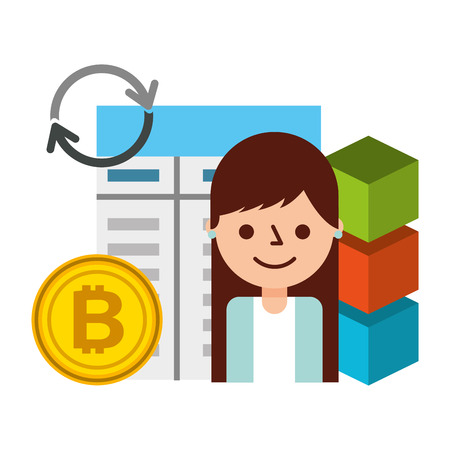woman user bitcoin blockchain fintech vector illustration Иллюстрация