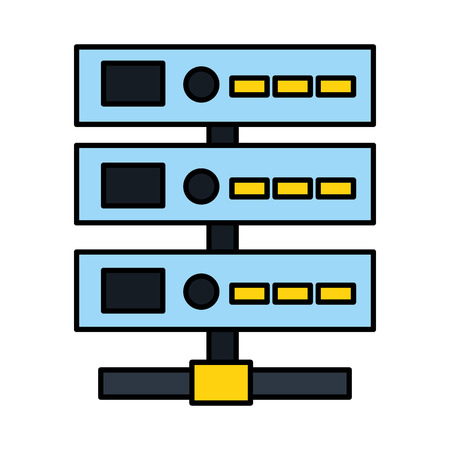 database server center technology storage vector illustration