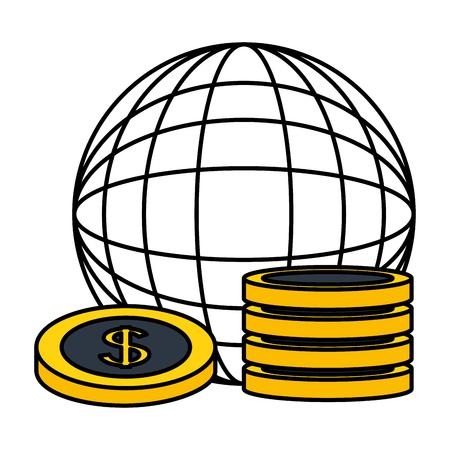Weltplanet Dollar Münzen Geldhandel Vektor-Illustration Vektorgrafik