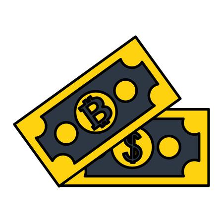 exchange money dollar bitcoin ecommerce vector illustration