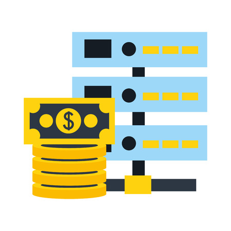 database server stacked banknotes money digital vector illustration