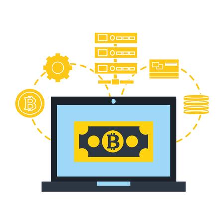 laptop bitcoin database connection fintech vector illustration