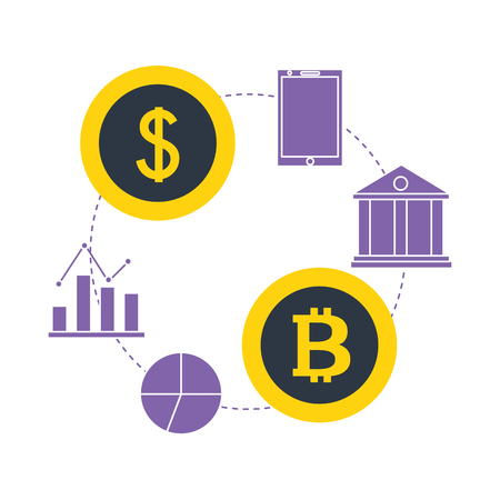 bitcoin dollar money bank smartphone fintech vector illustration  イラスト・ベクター素材