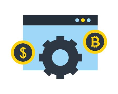 website dollar bitcoin gear progress fintech vector illustration
