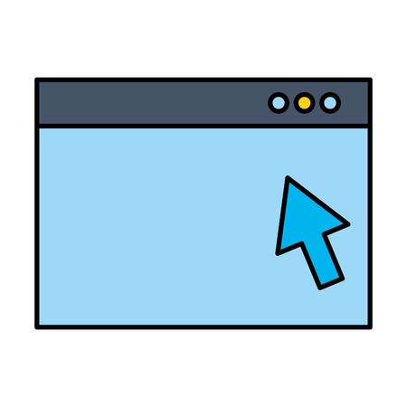 website window click arrow digital vector illustration