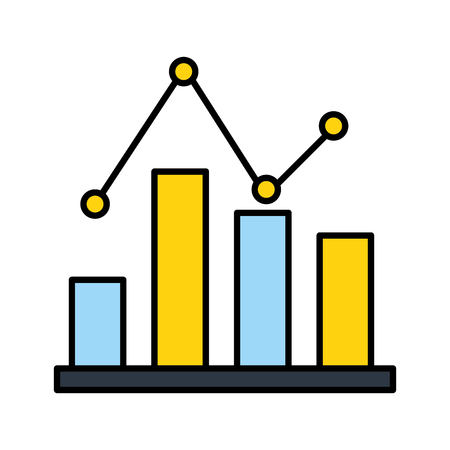 business statistics bar diagram pointed line vector illustration