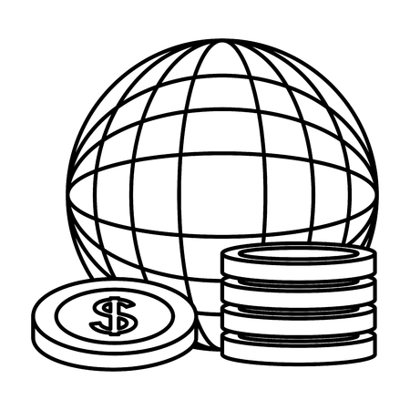 world planet dollar coins money trade vector illustration outline Ilustracja