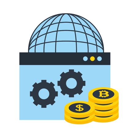 world website coins bitcoin dollar money fintech vector illustration Stock Illustratie