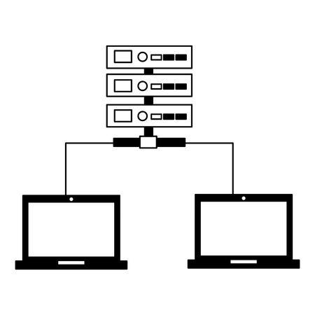 database server center connection computers vector illustration