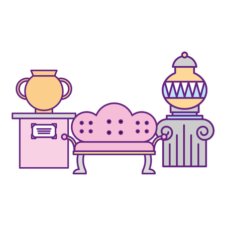 classic furniture sofa and ancient vases exhibition museum vector illustration
