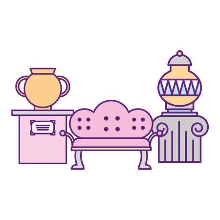 classic furniture sofa and ancient vases exhibition museum vector illustration