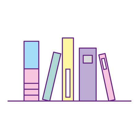 books literature on shelf exhibition vector illustration