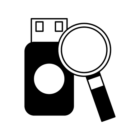 drive flash backup copy magnifying glass vector illustration