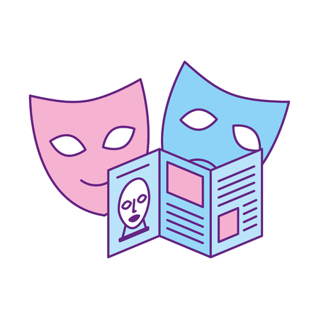 guide pamphlet and masks exhibition museum vector illustration