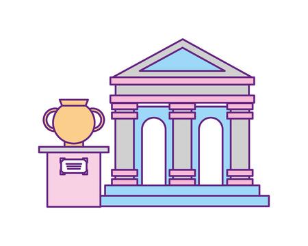 exhibition museum ancient classic vase vector illustration