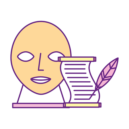mask sculpture and parchment feather pen exhibition museum vector illustration