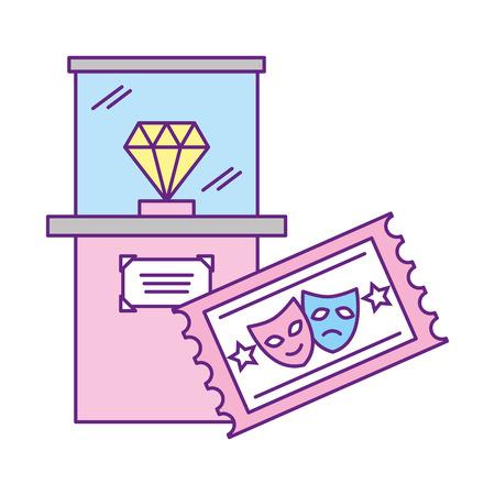 diamond in glass cube ticket exhibition museum vector illustration